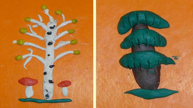 Поделки из пластилина - Берёза и ель