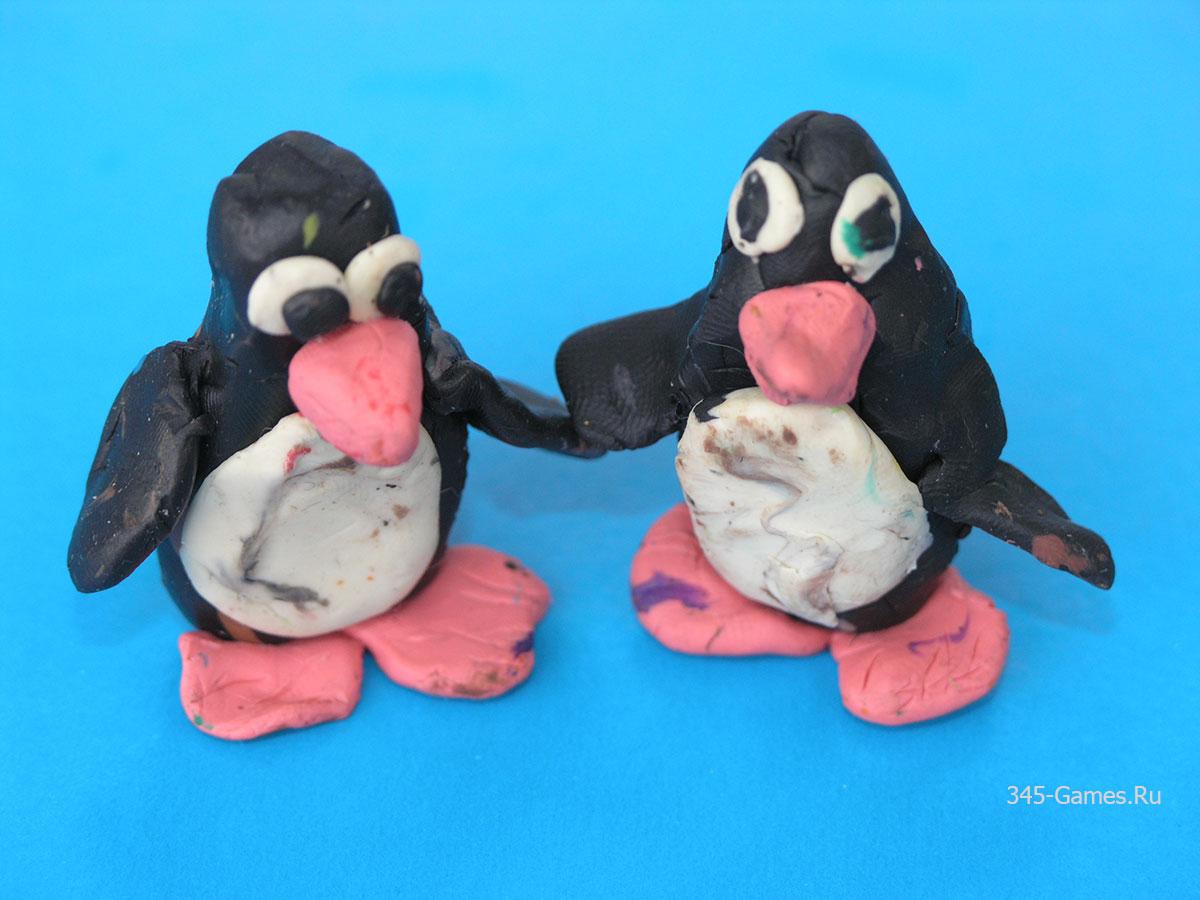 Лепка пингвина из пластилина