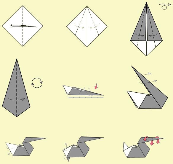 Как сделать забавного пеликана. Оригами