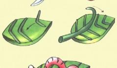 Червяк на листочке из пластилина