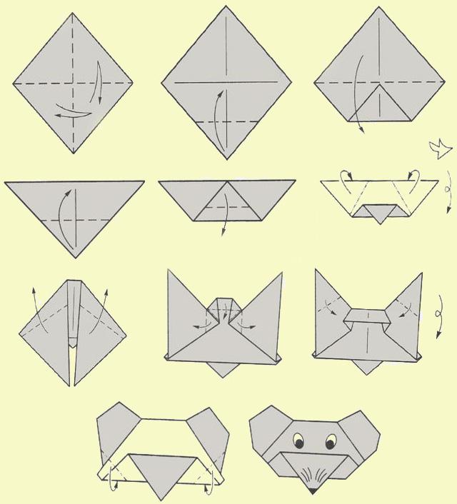 Оригами - делаем забавного мышонка