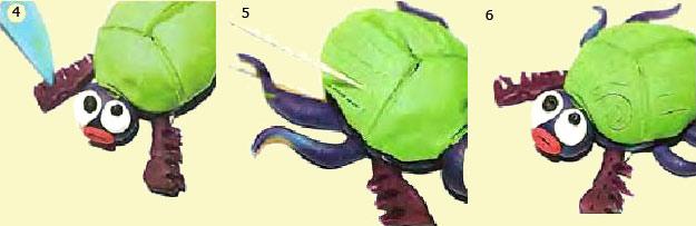 Как сделать зеленого жука из пластилина