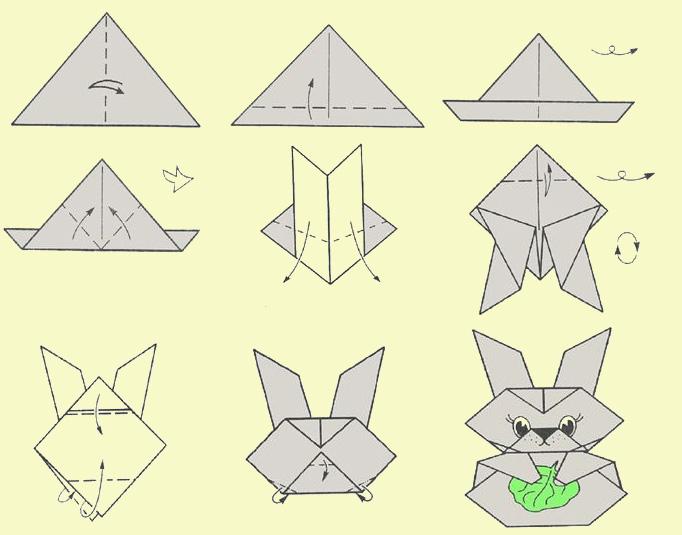 Как сделать зайку. Оригами.