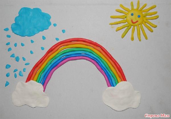 Как слепить радугу из пластилина