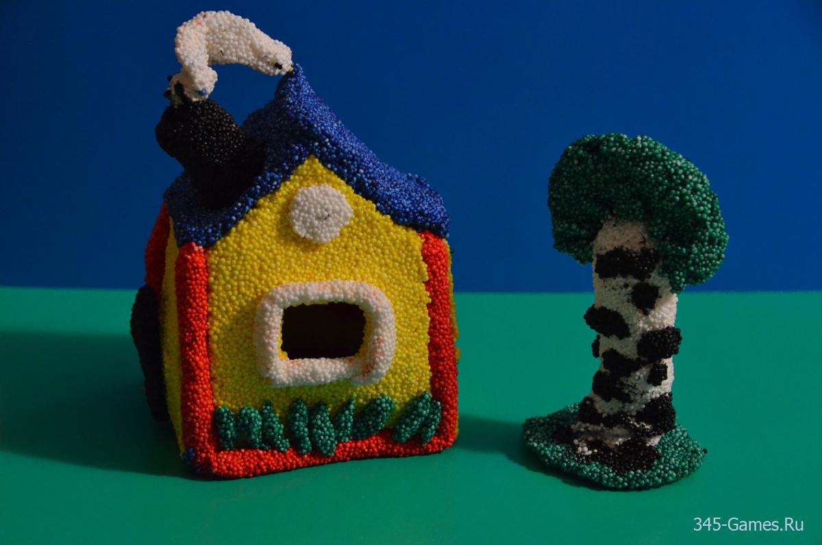Лепка домика из пластилина