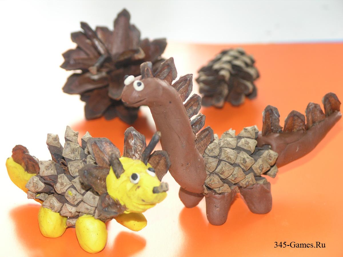 Новогодние поделки своими руками дракончик пластилин шишки
