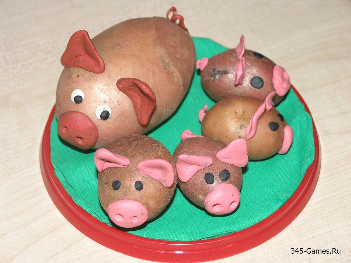 Свинья с поросятами из картошки