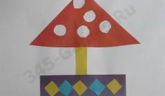 Как выполнить аппликацию песочницы-гриба