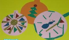Аппликация «Елочный шарик из цветного картона»