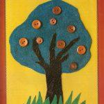 Аппликация: Деревце из ткани
